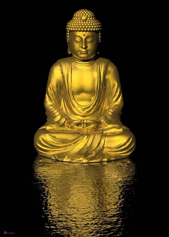 poster goldener buddha in din a1 gr e laminierte qualit. Black Bedroom Furniture Sets. Home Design Ideas