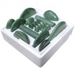 Jade Massage-Set, 20 Massagesteine aus Ophicalcit....