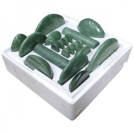 Jade Massage-Set, 20 Massagesteine aus Ophicalcit