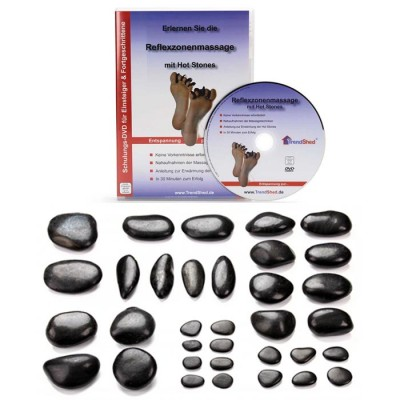 Reflexzonen-Set mit 34 Hot Stones