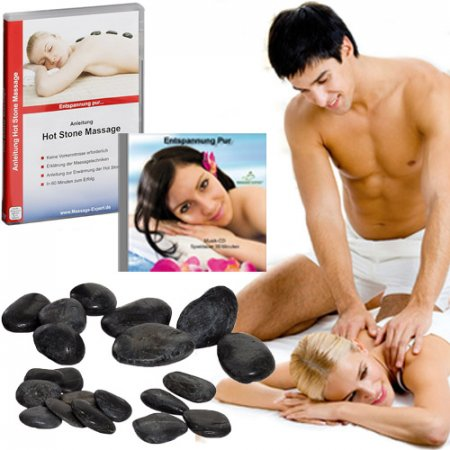 Hot Stone Set Partnermassage mit DVD-Anleitung, 20 Hot...