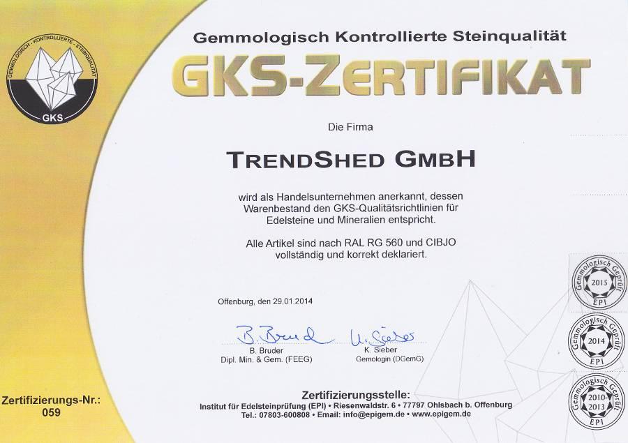 GKS Zertifikat für Massagesteine wie Hot Stones, Cold Stones und Edelsteine